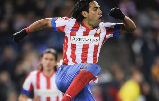 Atletico Madrid's Radamel Falcao celebrates after scoring