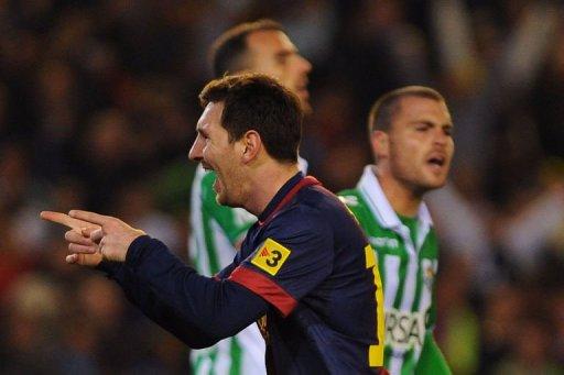 Barcelona's Lionel Messi celebrates after scoring