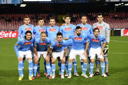 Napoli's players pose prior the UEFA Europa league Group F football match SSC Napoli vs PSV Eindhoven on December 6