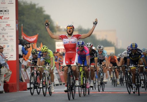 Austria's Marco Haller of Katusha team sprints over the finish line at the 2012 Tour of Beijing on 12 October 2012