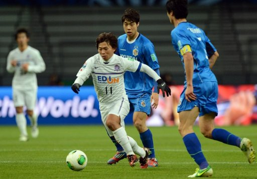 Hisato Sato (centre) scored twice as Hiroshima beat Ulsan Hyundai in the Club World Cup today