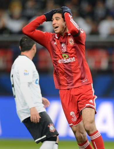 Al Ahly's Ramy Rabia regrets missing a shot on goal against Corinthians in Toyota on December 12, 2012