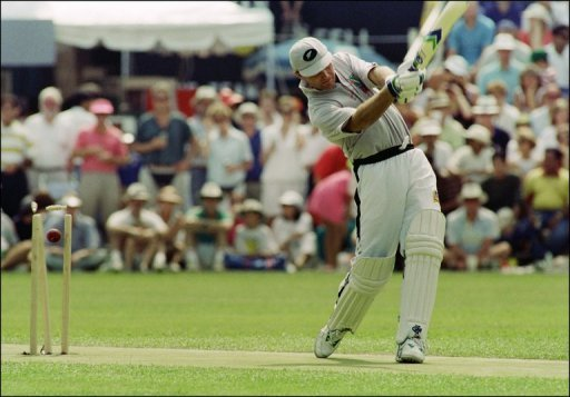 Martin Crowe is bowled for a duck at the Hong Kong International Cricket Sixes on October 4, 1992