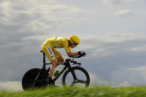 Bradley Wiggins rides in the 19th stage of the 2012 Tour de France from Bonneval on July 21, 2012