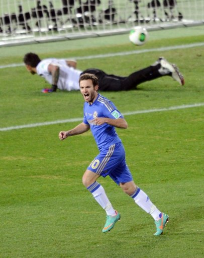 Juan Mata cheers after scoring for Chelsea in a Club World Cup semi-final in Yokohama on December 13, 2012.