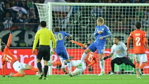 Juan Mata (in number 10 shirt) scores for Chelsea in a Club World Cup semi-final in Yokohama on December 13, 2012.