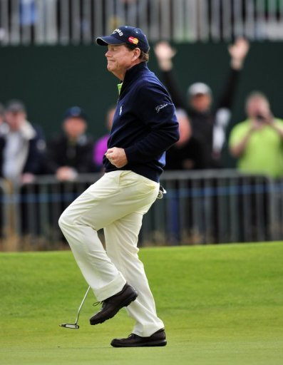 Tom Watson celebrates after making a birdie in the British Open at Royal Lytham and St Annes on July 20, 2012