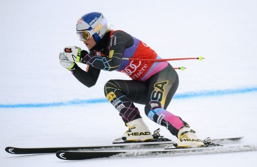 US Lindsey Vonn skis on December 13, 2012 in the French Alps resort of Val d'Isere