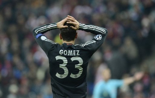 Bayern striker Mario Gomez misses a chance in the UEFA Champions League match against Bate Borisov on December 5, 2012