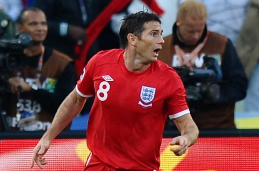 Frank Lampard reacts after his effort on goal is missed by officials at the World Cup against Germany on June 27, 2010