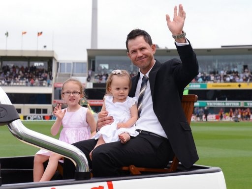 Ricky Ponting does a lap of honour with his daughters before the Test in Hobart on December 14, 2012