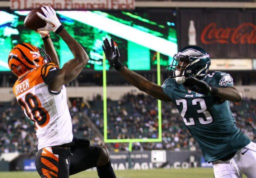 A.J. Green of the Cincinnati Bengals catches a touchdown against Philadelphia Eagles on December 13, 2012