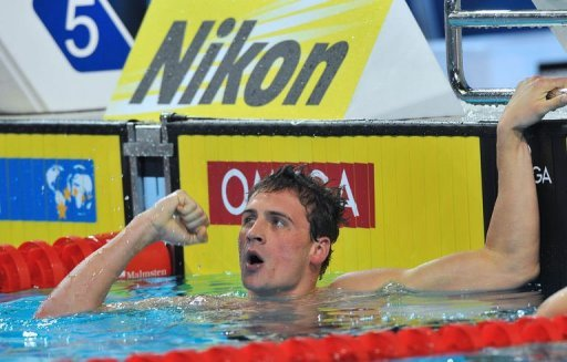 Ryan Lochte of the US reacts after winning the men's 200m individual medley on December 14, 2012