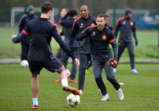 Manchester United's Ryan Giggs, pictured during a training session in Manchester, on November 6, 2012