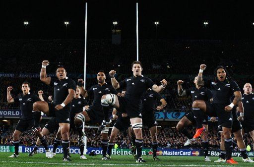 The New Zealand All Blacks perform the Haka, Eden Park Stadium in Auckland, on October 16, 2011