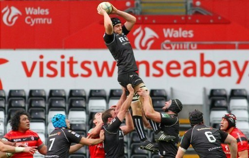 Lloyd Peters of Ospreys during a European Cup rugby union match with Toulouse in Swansea, Wales, December 15, 2012