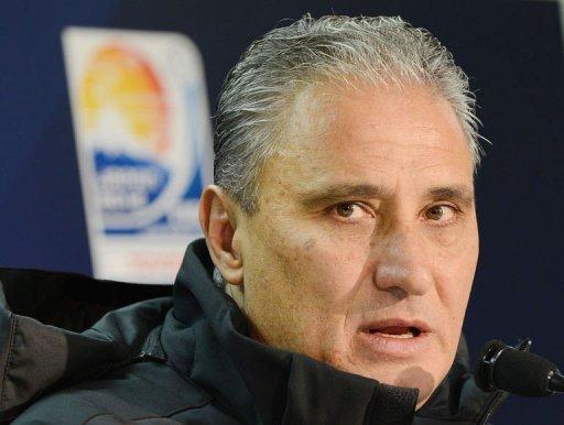 Brazil's Corinthians head football coach Tite answers questions in Yokohama on December 15, 2012