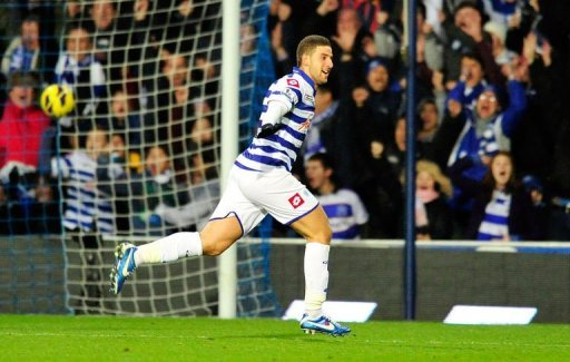 Queens Park Rangers' midfielder Adel Taarabt celebrates scoring in London on December 15, 2012