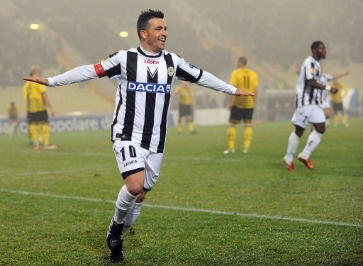 Antonio Di Natale plays in Udine on December 15, 2011