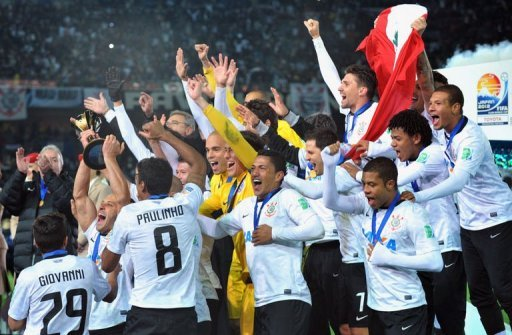 Brazilian giants Corinthians celebrate winning the Club World Cup in Yokohama, Japan on December 16, 2012