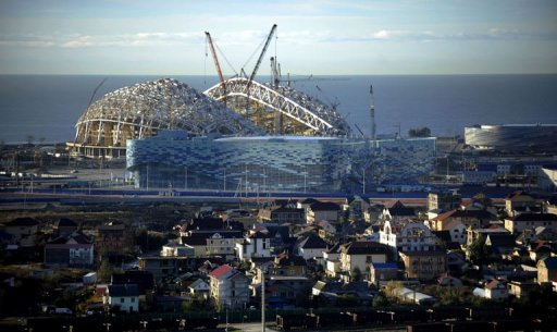 The Olympic Stadium construction site in the Russian Black Sea resort of Sochi, is pictured December 9, 2012