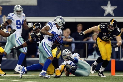Brandon Carr of the Dallas Cowboys runs after making an interception against the Pittsburgh Steelers on December 16, 2012