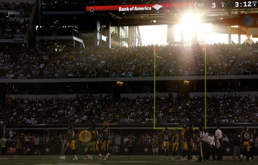 The Pittsburgh Steelers take to the field against the Dallas Cowboys at Cowboys Stadium on December 16, 2012