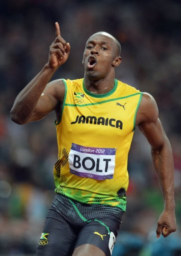 Jamaica's Usain Bolt takes gold in the men's 100m final at the London 2012 Olympics on August 5, 2012
