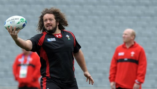 Wales' prop Adam Jones at Eden Park in Auckland on October 14, 2011.