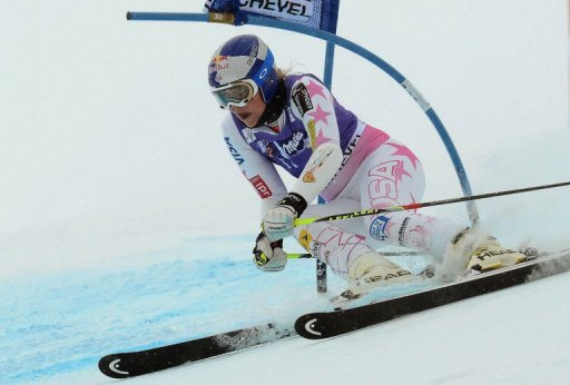 Lindsey Vonn competes on December 16, 2012 in the first run of the women's FIS World Cup giant slalom