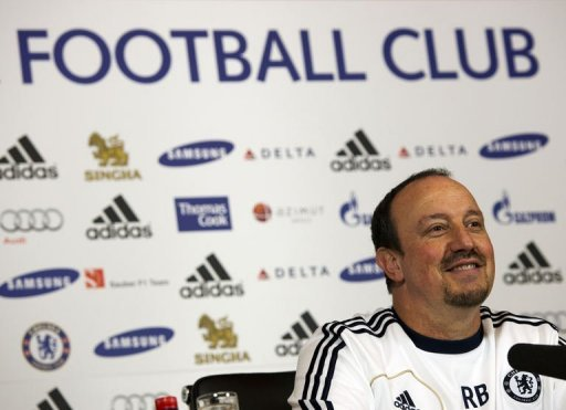 Chelsea's interim manager Rafael Benitez during a press conference at the club's complex in Surrey on December 18, 2012