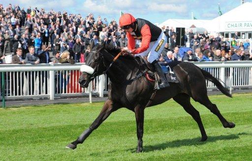 Hurdling great Big Bucks, ridden by jockey Ruby Walsh, runs to win the Liverpool Hurdle on April 12 2012