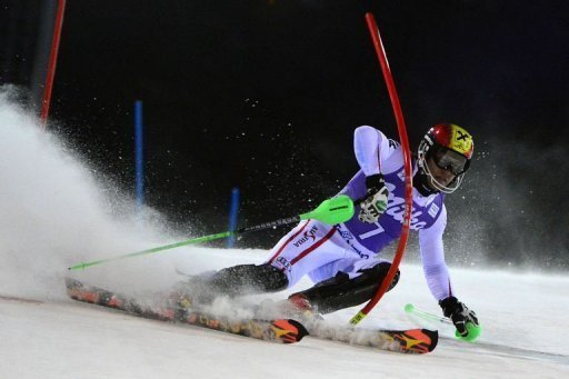 Austria's Marcel Hirscher competes during the Men's World Cup slalom on December 18, 2012, in Madonna di Campiglio