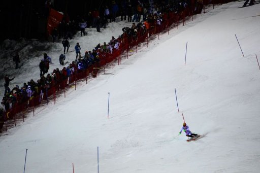 Austria's Marcel Hirscher (C) competes during the Men's World Cup slalom on December 18, 2012
