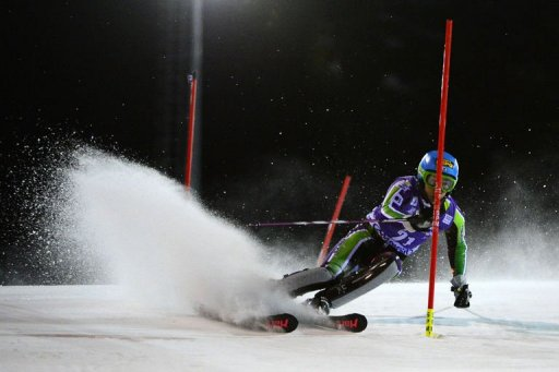 Japan's Naoki Yuasa competes during the Men's World Cup Slalom on December 18, 2012 in Madonna di Campiglio