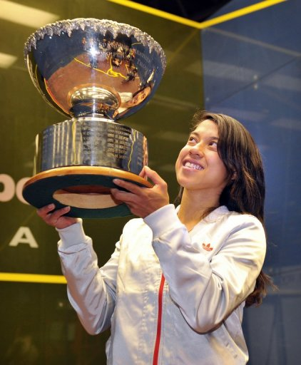 Nicol David, pictured with the winner's trophy at the Australian Open squash tournament in Canberra, on August 19, 2012