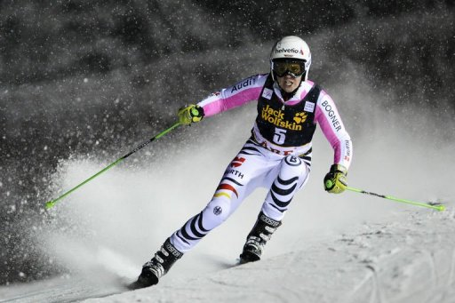 Germany's Viktoria Rebensburg competes during the FIS Alpine Ski World Cup women's giant slalom on December 19, 2012