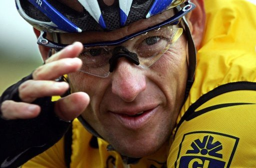 Lance Armstrong during the fifth stage of the 91st Tour de France cycling race on July 8, 2004