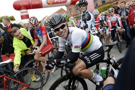 Mark Cavendish at the start of the first stage of the Tour of Denmark stage race on August 22, 2012