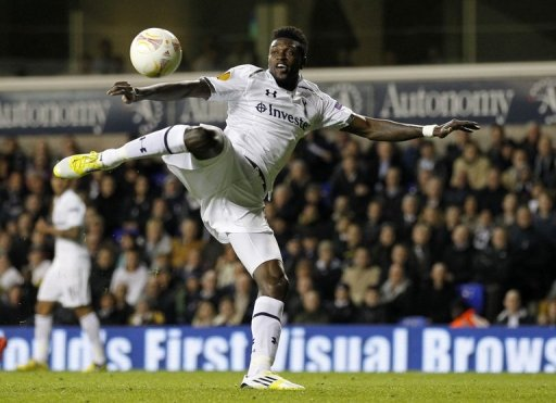 Emmanuel Adebayor takes a shot for Tottenham Hotspur against NK Maribor at White Hart Lane on November 8, 2012