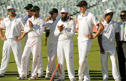 The South African team after the third Test match between South Africa and Australia in Perth on December 3, 2012