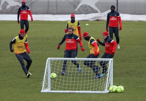 PSG players, pictured during a training session in Saint Germain en Laye, outside Paris, on December 19, 2012