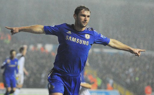Branislav Ivanovic celebrates after scoring Chelsea's second goal against Leeds at Elland Road on December 19, 2012