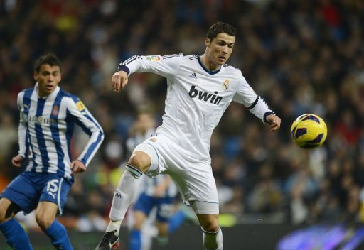 Real Madrid's Cristiano Ronaldo during a Spanish league match against Espanyol on December 16, 2012