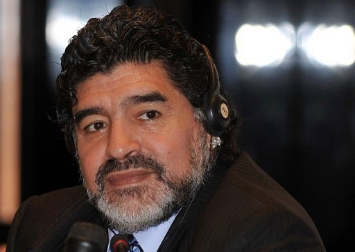 Argentine football legend Diego Maradona holds a press conference in Dubai late on September 2, 2012