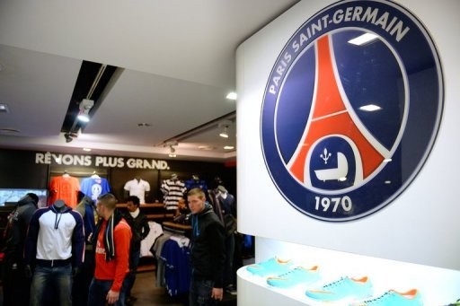 The Paris Saint-Germain football club logo displayed in the club's official store in Paris on November 16, 2012