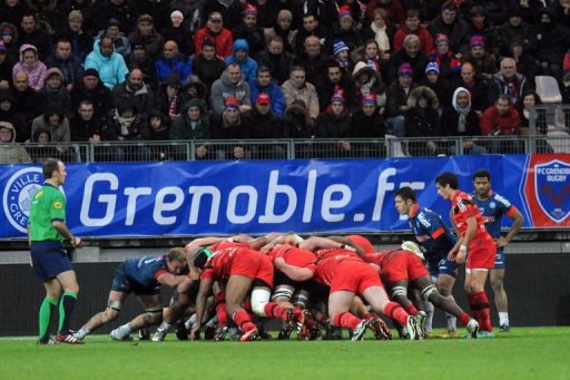 Grenoble and Toulouse' players on December 22, 2012  at the Stade des Alpes stadium in Grenoble,France