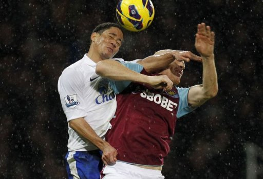 Everton's Steven Pienaar (L) jumps for the ball with West Ham United's James Collins in London on December 22, 2012