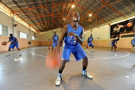 Students during a basketball training session at the Seeds Academy, a free basketball-focused boarding school in Senegal