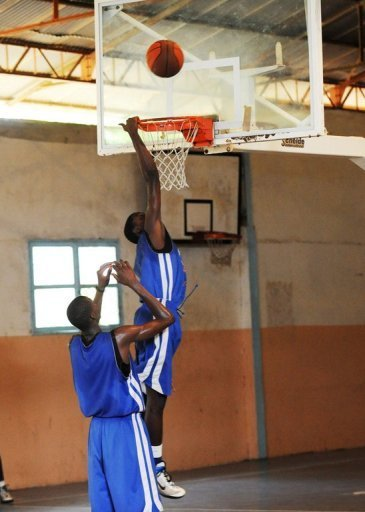Students during a basketball training session at Seeds Academy in Senegal
